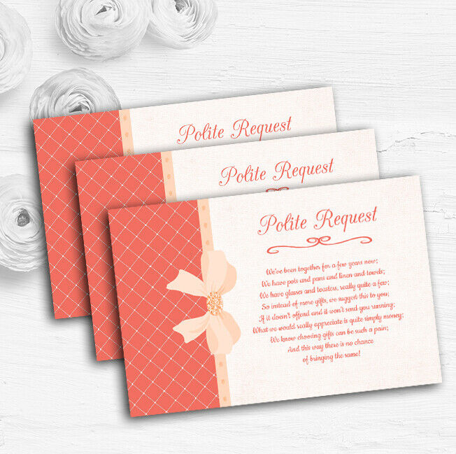 Quilted Look Coral Bow Personalised Wedding Gift Cash Request Money Poem Cards
