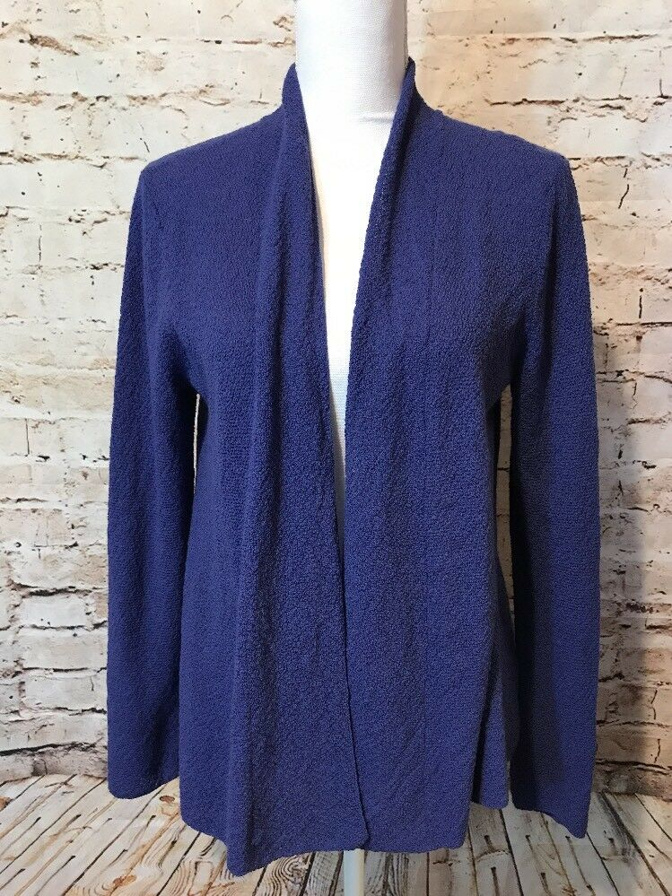 Eileen Fisher Cardigan Sweater Womens Petite Medium Purple 100% Wool Thin Knit