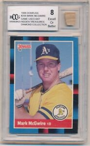 1988 DonRuss #256 Mark McGwire Game-Used Bat Oakland A's Hidden Treasures