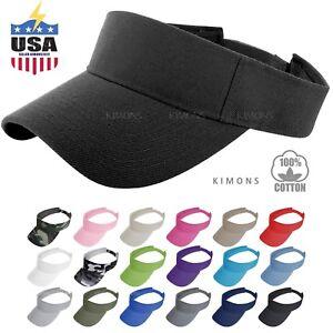 Visor Sun Plain Hat Sports Cap Colors Golf Tennis Beach Adjustable Summer