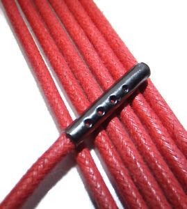 3mm-rond-rouge-Coton-Cire-Lacets-chaussures-BOUT-EN-METAL-Toute-Longueur-Botte