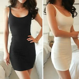 Women-Low-Cut-Bandage-Stretch-Layer-Extra-Long-Cami-Tank-Top-Mini-Dress-S-2XL