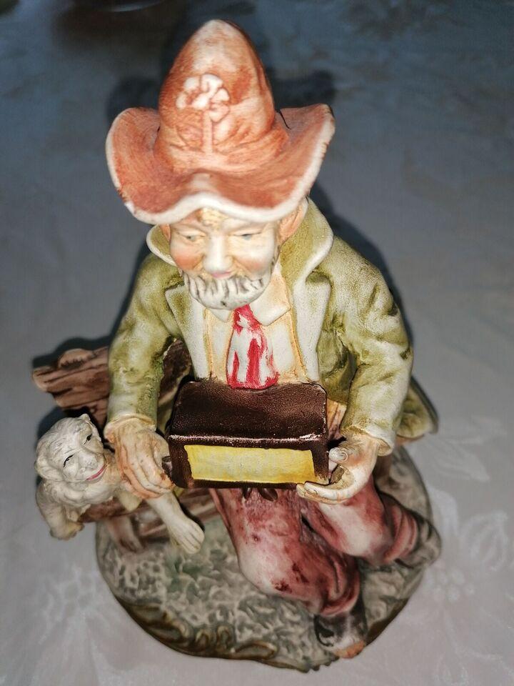 Figur 20 cm høj Mand med harmonika og abe, Tjekkisk