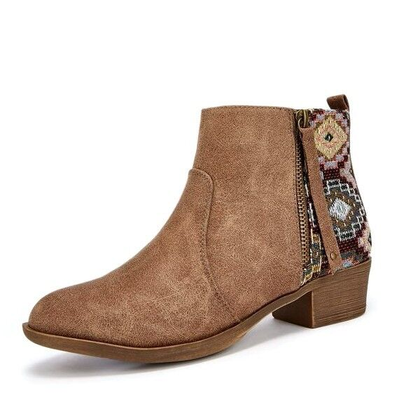 JustFab Womens Arika Taupe Faux Suede & Fabric Print New Ankle Boots