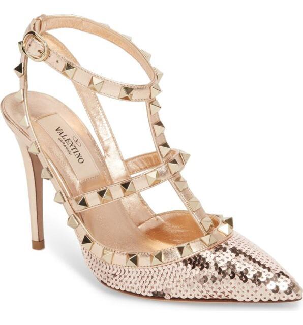 a5130a650c19c Valentino Garavani Rockstud Rose GOLD Sequin T-Strap Pointy Toe Pumps Shoe  40