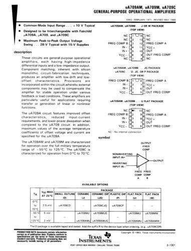 SN72709DN Op 2 pieces Amplifier 709 IC LM709 // NTE909D // uA709// SN72709N