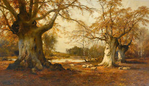 Beautiful-art-Oil-painting-Burnham-Beeches-huge-trees-in-landscape-by-stream