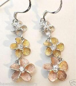 15MM SOLID 925 STERLING SILVER HAWAIIAN PLUMERIA FLOWER PINK CZ STUD EARRINGS #2