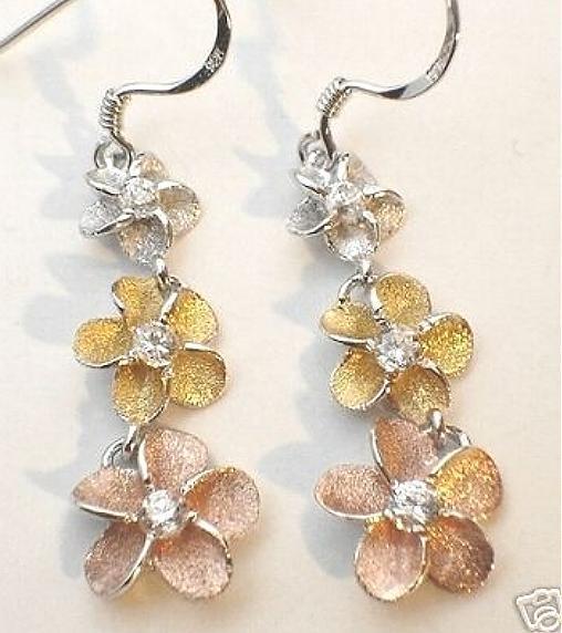 Graduated Hawaiian Rhodium 14k Gold Sterling Silver Plumeria CZ Hook Earrings #2