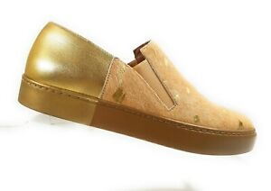 Free-People-Varsity-Women-Flats-Gold-Brown-Calf-Hair-Loafers-Slip-On-Shoes-Sz-40