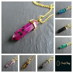 Stone Crystal Point Pendant Necklace Womans Girls Reiki Natural Healing UK