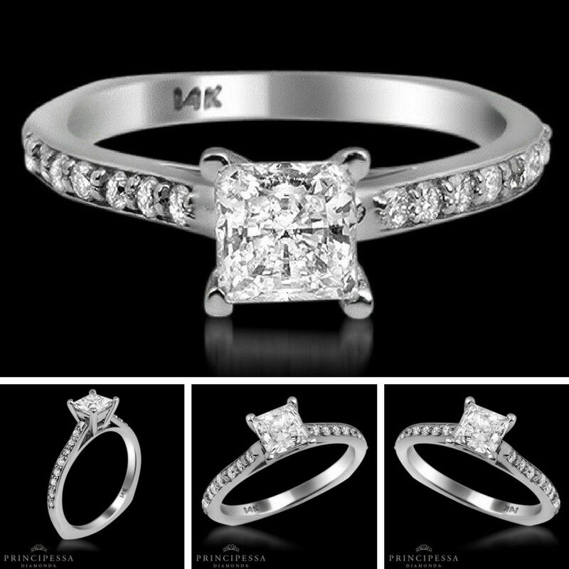 0.66 TCW Solitaire With Accent Princess Diamond Ring VS1 D Engagement Enhanced