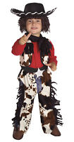 Cowboy Costume + Hat Boys Black White Red Jumpsuit + Vest Wig Childs Small 4 5 6
