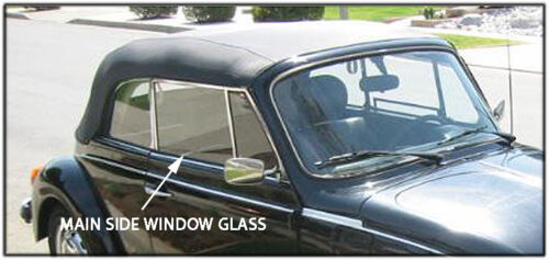 VW VOLKSWAGEN CONVERTIBLE GLASS FOR MAIN  SIDE WINDOW 65-79 BEETLE AND SUPER