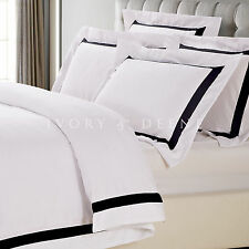 WHITE QUILT COVER Queen Size Black Trim Doona Duvet Cover Set NEW AVA COLLECTION
