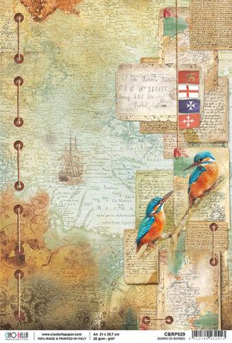 Reispapier-Motiv Strohseide-A4-Vintage-Reise-Landkarte-Map-CBRP029