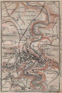 Freiburg Schweiz Karte.Details About Fribourg Freiburg Environs Switzerland Suisse Schweiz Carte Karte 1913 Map