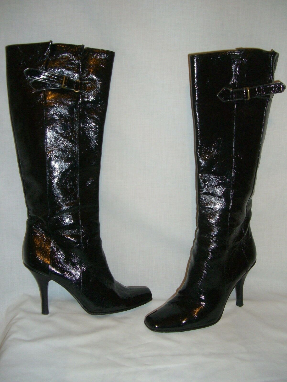 JIMMY CHOO Black Crushed Patent Leather High Heel Knee Boots 37.5 / 7.5M  - EUC