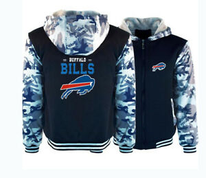 Newest Winter hooded Buffalo Bills Jacket Sweatshirt Hoodie Zip up Coat