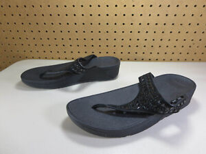 FitFlop-women-All-black-Camel-suede-perforated-toning-walking-flip-flops-8-M-EUC