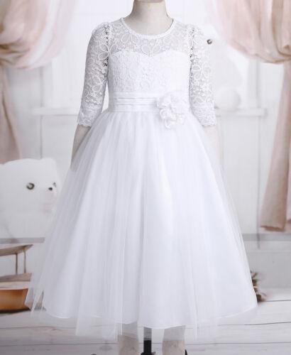 Flower Girls Princess Dresses Party Bridesamid Wedding Pageant Lace Mesh Dresses