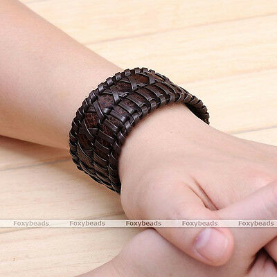 Punk Mens Brown Genuine Cow Leather Wide Braided Bracelet Cuff Wristband Bangle