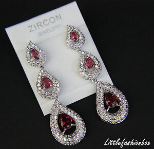 Shiny Teardrop Cubic Zirconia Crystal Cluster Wedding Bridal Prom Earring UK New