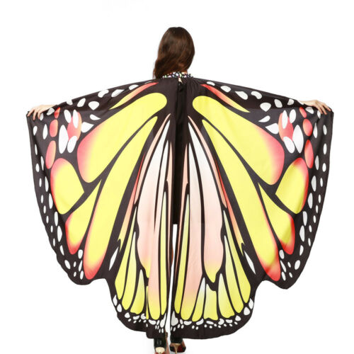 Women Butterfly Wings Shawl Scarves Ladies Nymph Pixie Poncho Costume Accessory