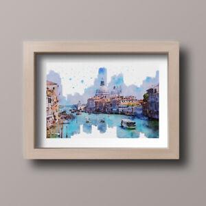 Watercolour-Venice-Italy-Scene-Home-Print-Gift-Wall-Art-A4-Unframed