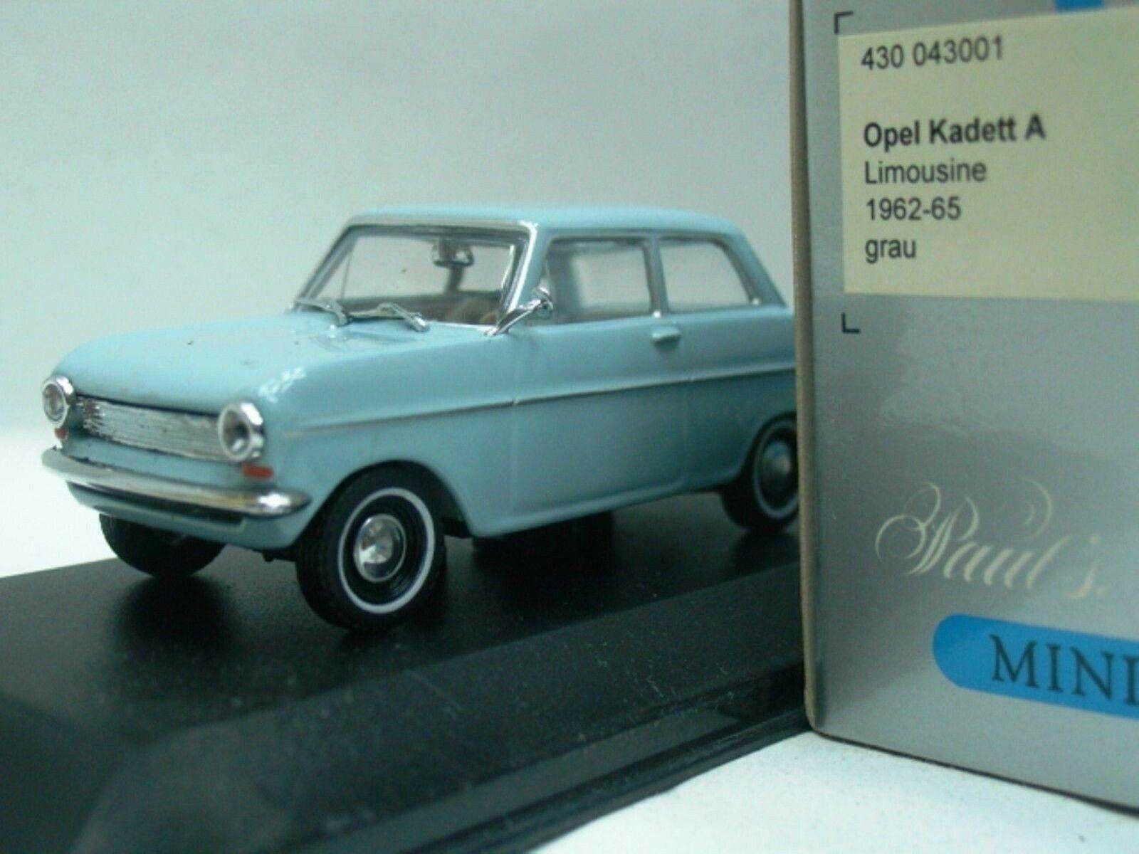 WOW estremamente raro OPEL KADETT una berlina 2d 1962 Grigio Blu 1:43 Minichamps-REKORD