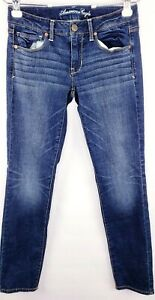 American-Eagle-Jeans-Womens-Size-6-Short-Skinny-Super-Stretch-Low-Rise-Med-Wash