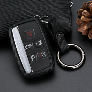 Black-Carbon-Fiber-Silicone-5-Buttons-Key-Chain-Cover-Fob-For-Land-Rover-JAGUAR