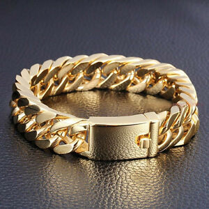 Image Is Loading New Heavy Gold Steel Cuban Curb Chain Men
