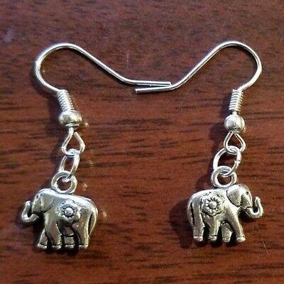 Handmade Tibetan Silver Drop Dangle Elephant Earrings Hook Fastening