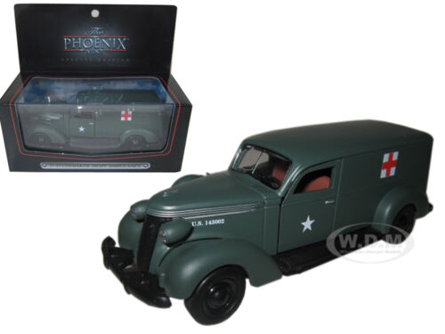 1937 STUDEBAKER ARMY AMBULANCE VAN WITH DISPLAY CASE 1//43 BY PHOENIX MINT 18376