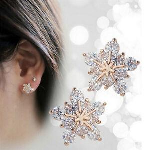 Ladies-Cute-Snowflake-Crystal-Stud-Earrings-Small-Five-pointed-Star-Earrings-SWG