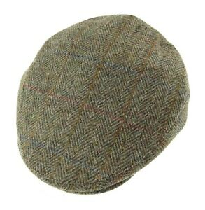 fa7944bcd619c Image is loading Gents-Authentic-Harris-Tweed-Cap -Green-Herringbone-Available-