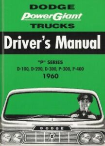 Dodge 1960 Truck Owner S Manual 60 Pick Up Ebay