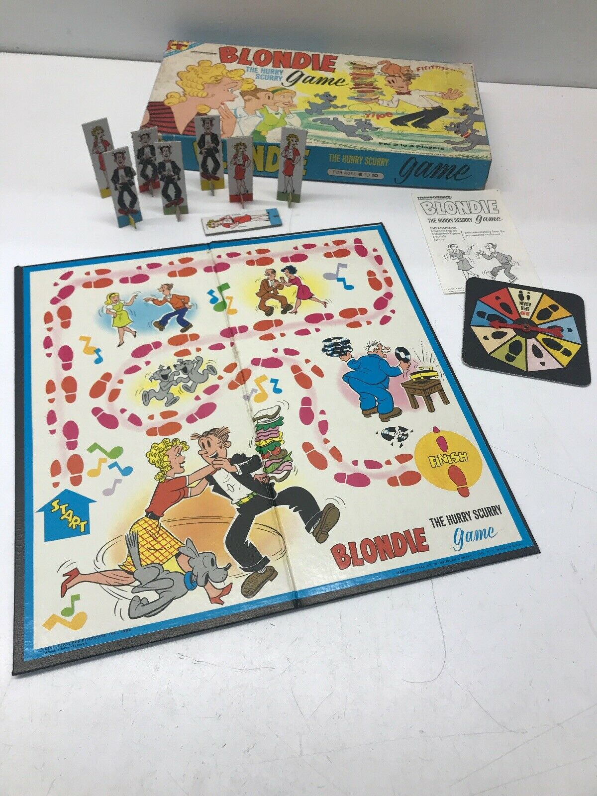 Transogram Blondie The Hurry Scurry Board Game