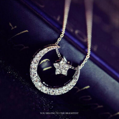 925 Sterling Silver Filled Cubic Zirconia Moon Pendant Necklace Fashion Gift