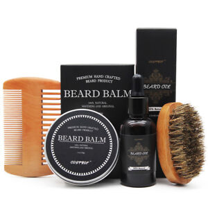 Beard-Oil-Balm-Comb-Brush-Apron-Beard-Grooming-amp-Trimming-Kit-for-Men