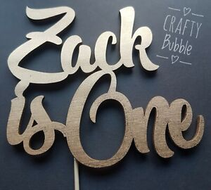 ANY-NAME-039-IS-ONE-039-many-colours-WOODEN-NOT-CARD-Birthday-Cake-topper-HAND-MADE