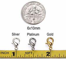 20pcs - 200pcs Silver Gold Platinum Tone Lobster Clasps 6x10mm USA Seller