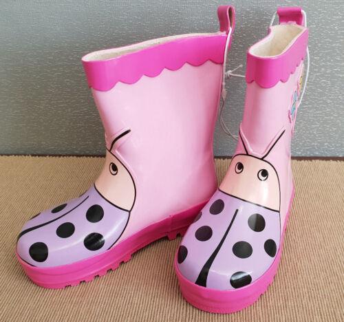 BNWT Little Girls Sz 6 Quality Target Brand Pink Purple Flowers Ladybug Gumboots