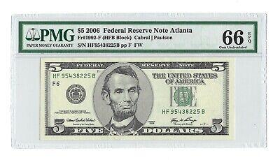 PMG GEM UNCIRCULATED 66 EPQ BANKNOTE SHEET ISSUE 2006 $5 ATLANTA OLD DESIGN FRN