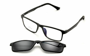 Magnetic-Clip-on-Sunglasses-Rx-Eyeglass-Frames-Spectacles-Driving-Mens-HFA92