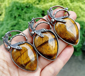 3pcs Tiger eye stone Dragonfly Pendants bead Energy Reiki Chakra Amulet