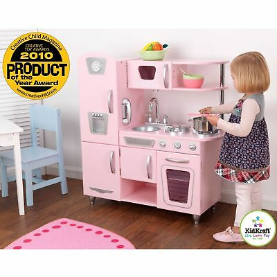 Kitchen Play Set For Girls Pretend Play Wooden Cooking Toy Set Toddler Kids  Pink 6091203252680 | eBay