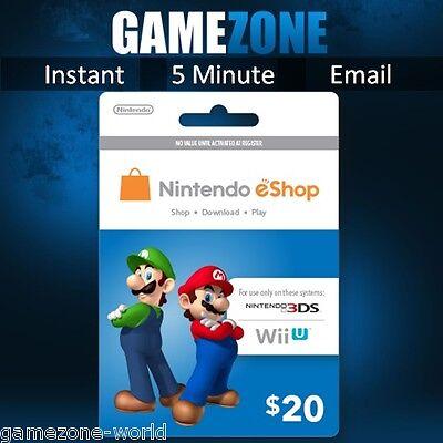 Nintendo e-Shop Gift Card Code - $20 USD USA Nintendo eShop Key 3DS/DS/Wii U