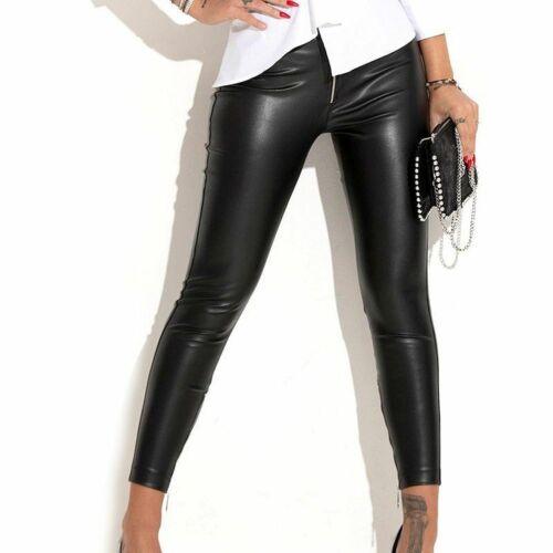 By Alina mexton Pantalon femme noire stoffhose facon cuir 34-XS #c797